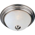 "Essentials Collection 1-Light 11"" Satin Nickel Flush Mount with Frosted Glass 5840FTSN"