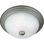 "Essentials Collection 1-Light 11"" Pewter Flush Mount with Marble Glass 5840MRPE"