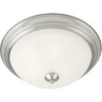 "Essentials Collection 1-Light 11"" Satin Nickel Flush Mount with Marble Glass 5840MRSN"