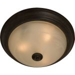 "Essentials Collection 2-Light 13"" Oil Rubbed Bronze Flush Mount with Frosted Ivory Glass 5841FIOI"