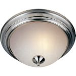 "Essentials Collection 2-Light 13"" Satin Nickel Flush Mount with Ice Glass 5841ICSN"