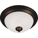 "Essentials Collection 2-Light 13"" Oil Rubbed Bronze Flush Mount with Marble Glass 5841MROI"