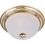 "Essentials Collection 2-Light 13"" Polished Brass Flush Mount with Marble Glass 5841MRPB"