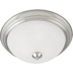 "Essentials Collection 2-Light 13"" Satin Nickel Flush Mount with Marble Glass 5841MRSN"