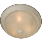 "Essentials Collection 2-Light 13"" Textured White Flush Mount with Marble Glass 5841MRTW"