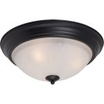 "Essentials Collection 3-Light 15"" Black Flush Mount with Ice Glass 5842ICBK"