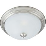 "Essentials Collection 3-Light 15"" Satin Nickel Flush Mount with Marble Glass 5842MRSN"