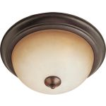 "Essentials Collection 3-Light 15"" Oil Rubbed Bronze Flush Mount with Wilshire Glass 5842WSOI"