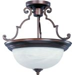 "Essentials Collection 2-Light 14"" Oil Rubbed Bronze Semi-Flush Mount with Marble Glass 5843MROI"