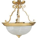 "Essentials Collection 2-Light 14"" Polished Brass Semi-Flush Mount with Marble Glass 5843MRPB"