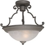 "Essentials Collection 2-Light 14"" Pewter Semi-Flush Mount with Marble Glass 5843MRPE"