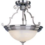 "Essentials Collection 2-Light 14"" Satin Nickel Semi-Flush Mount with Marble Glass 5843MRSN"