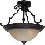 "Essentials Collection 2-Light 14"" Oil Rubbed Bronze Semi-Flush Mount with Wilshire Glass 5843WSOI"