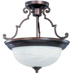 "Essentials Collection 3-Light 17"" Oil Rubbed Bronze Semi-Flush Mount with Marble Glass 5844MROI"
