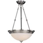 "Essentials Collection 3-Light 24"" Satin Nickel Pendant with Marble Glass 5846MRSN"