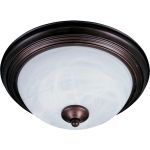 "Essentials Collection 2-Light 11"" Oil Rubbed Bronze Flush Mount with Marble Glass 5849MROI"