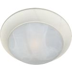 "Essentials Collection 1-Light 12"" Textured White Flush Mount with Marble Glass 5850MRTW"