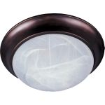 "Essentials Collection 2-Light 14"" Oil Rubbed Bronze Flush Mount with Marble Glass 5851MROI"