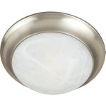"Essentials Collection 2-Light 14"" Satin Nickel Flush Mount with Marble Glass 5851MRSN"