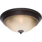 "Essentials Collection 3-Light 15"" Oil Rubbed Bronze Flush Mount with Latte Glass 5856LTOI"