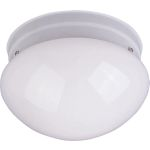 "Essentials Collection 1-Light 7"" White Flush Mount with White Glass 5880WTWT"