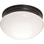 "Essentials Collection 2-Light 9"" Oil Rubbed Bronze Flush Mount with White Glass 5881WTOI"