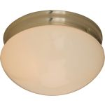 "Essentials Collection 2-Light 9"" Satin Nickel Flush Mount with White Glass 5881WTSN"