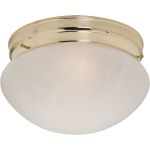 "Essentials Collection 1-Light 7"" Polished Brass Flush Mount with Marble Glass 5884MRPB"