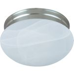 "Essentials Collection 1-Light 7"" Satin Nickel Flush Mount with Marble Glass 5884MRSN"