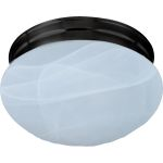 "Essentials Collection 2-Light 9"" Oil Rubbed Bronze Flush Mount with Marble Glass 5885MROI"
