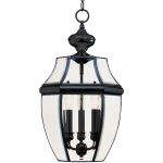 "South Park Collection 3-Light 20"" Black Outdoor Hanging Light with Clear Glass 6095CLBK"