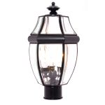 "South Park Collection 3-Light 18"" Black Outdoor Pier/Post Mount with Clear Glass 6097CLBK"