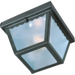 "Outdoor Essentials Collection 1-Light 7"" Black Outdoor Ceiling Light with Frosted Glass 6203FTBK"
