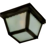 "Outdoor Essentials Collection 2-Light 9"" Black Outdoor Ceiling Light with Frosted Glass 6204FTBK"