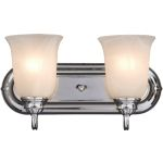 "Essentials Collection 2-Light 14"" Polished Chrome Vanity with Marble Glass 7136MRPC"