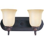"Essentials Collection 2-Light 14"" Oil Rubbed Bronze Vanity with Wilshire Glass 7136WSOI"