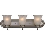 "Essentials Collection 3-Light 24"" Satin Nickel Vanity with Marble Glass 7137MRSN"
