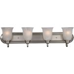 "Essentials Collection 4-Light 30"" Satin Nickel Vanity with Marble Glass 7138MRSN"