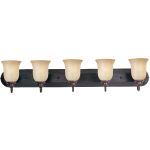 "Essentials Collection 5-Light 36"" Oil Rubbed Bronze Vanity with Wilshire Glass 7139WSOI"