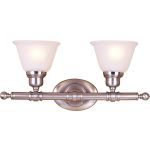 "Essentials Collection 2-Light 19"" Satin Nickel Vanity with Frosted Glass 7142FTSN"