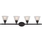 "Essentials Collection 4-Light 39"" Oil Rubbed Bronze Vanity with Frosted Glass 7144FTOI"