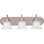 "Essentials Collection 3-Light 24"" Satin Nickel Vanity with Marble Glass 8013MRSN"