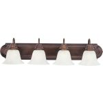 "Essentials Collection 4-Light 30"" Oil Rubbed Bronze Vanity with Marble Glass 8014MROI"