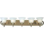"Essentials Collection 5-Light 36"" Satin Nickel Vanity with Marble Glass 8015MRSN"
