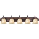 "Essentials Collection 5-Light 36"" Oil Rubbed Bronze Vanity with Wilshire Glass 8015WSOI"