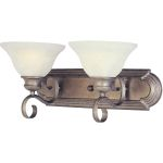 "Pacific Collection 2-Light 18"" Pewter Vanity with Marble Glass 8022MRPE"