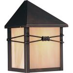 "Taliesin Collection 1-Light 5"" Burnished Outdoor Wall Light with Iridescent Glass 8041IRBU"