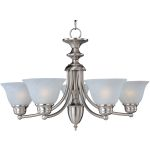 "Malibu Collection 5-Light 16"" Satin Nickel Chandelier with Marble Glass 82699MRSN"