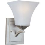 "Aurora Collection 1-Light 5"" Satin Nickel Wall Sconce with Frosted Glass 83098FTSN"