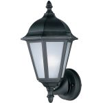 "Westlake Collection 1-Light 15"" Black Outdoor Wall Light with Frosted Glass 85102BK"